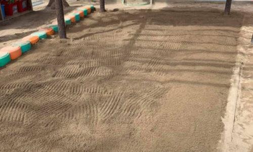 砂場掃除消毒作業