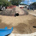 津山市内 公園砂場清掃